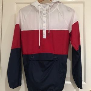 a red white and blue windbreaker